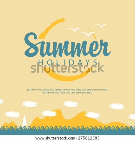banner summer holidays with sea, sun and sailing - stock vector