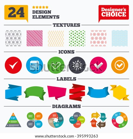 Banner tags, stickers and chart graph. Check icons. Checkbox confirm circle sign symbols. Linear patterns and textures. - stock vector