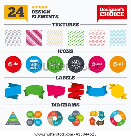 Banner tags, stickers and chart graph. Top-level internet domain icons. De, Com, Net and Nl symbols with globe. Unique national DNS names. Linear patterns and textures. - stock vector