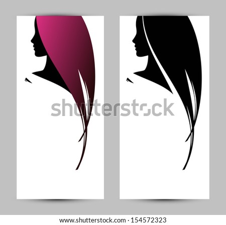 banner template with female profile silhouette - stock vector