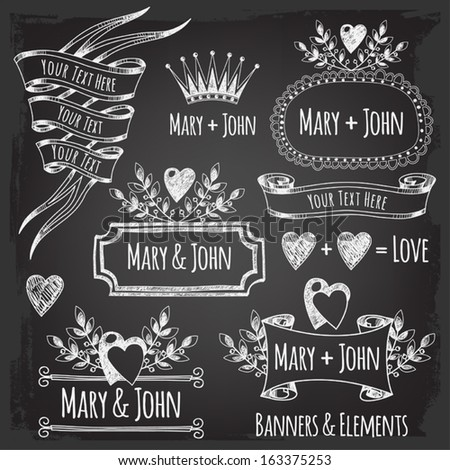 Banner templates, elements. Elements of design for wedding. Valentine's Day  - stock vector