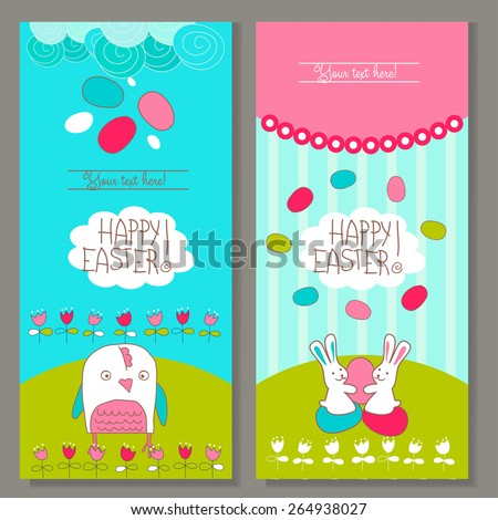 Banner templates. Happy Easter! greetings card template. Vector - stock vector