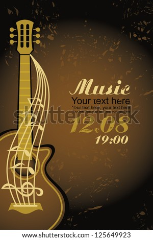 banner with an acoustic guitar on a brown background - stock vector