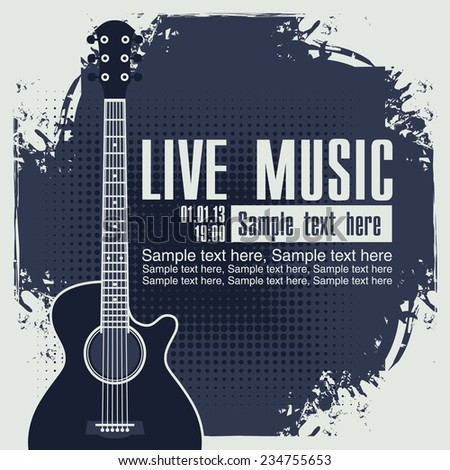 banner with an acoustic guitar on grungy blue background - stock vector