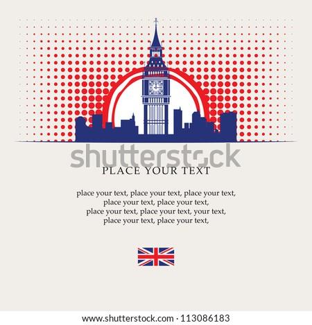 banner with Big Ben in the sun - stock vector