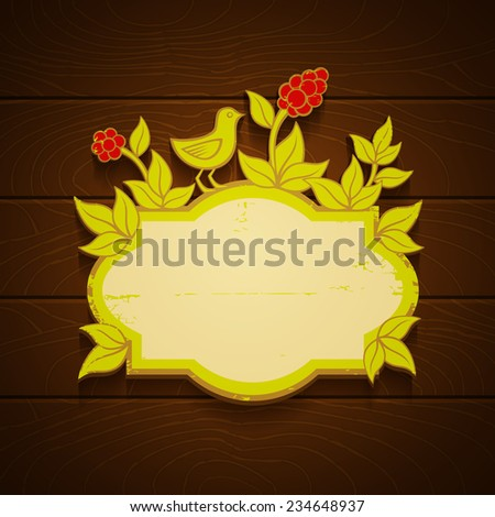 Banner with bird and red berries - stock vector