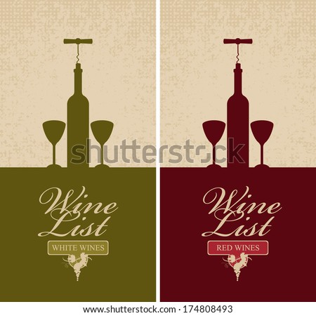 banner with bottle of wine, two glasses, and vine - stock vector