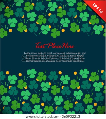 Banner with clover, trefoil. St. Patrick's day. Design template with decorative floral elements and gold coins - stock vector