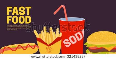 Banner with fast food: hamburger, soda, french fries, hot dog. Vector illustration - stock vector