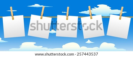 Banner with five paper notes hanging on rope.Vector illustration. - stock vector