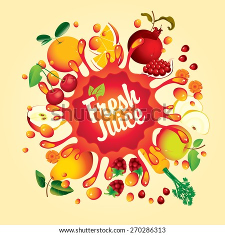 Banner with fruit, and splashes fresh juice - stock vector