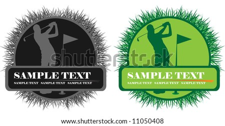 banner with golf player - stock vector