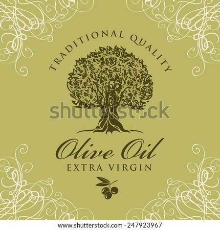banner with olive tree and olive oil labeled - stock vector