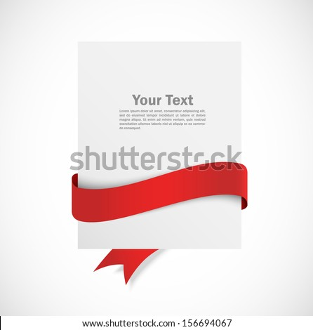 Banner with red ribbon - stock vector