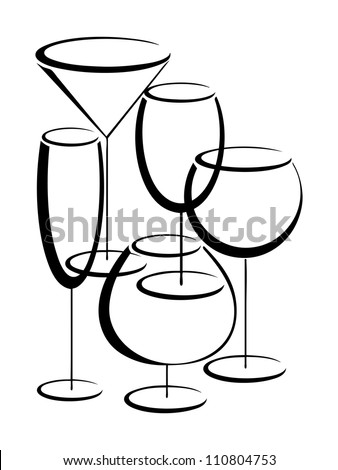 Banner with set of glasses for alcohol drinks - stock vector
