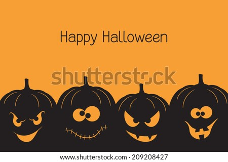 Banner with spooky and crazy Halloween pumpkins - stock vector