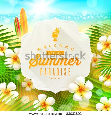 Banner with summer greeting and frangipani flowers against a  tropical  shore seascape with surfboards  - vector illustration - stock vector