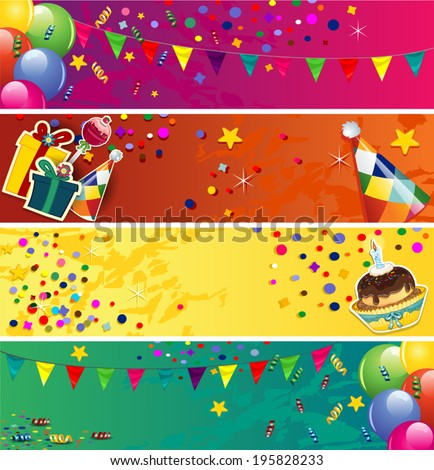 Banners birthday with balloons and cake-space to insert your text-transparency blending effects and gradient mesh-EPS10 - stock vector