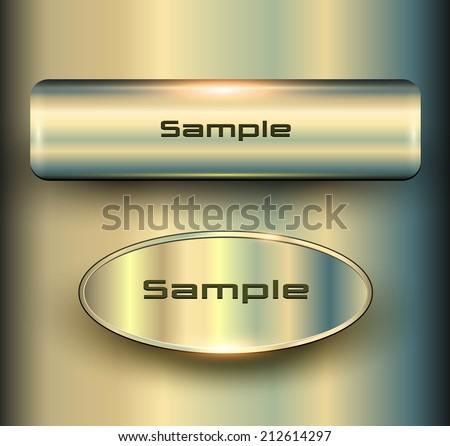 Banners 3D metallic, vector backgrounds. - stock vector