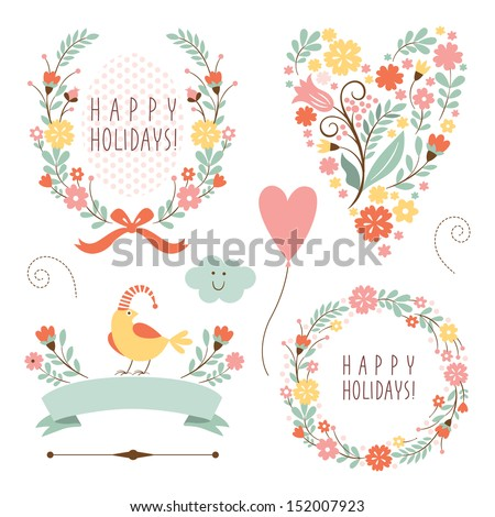 banners, floral  frames and graphic elements  - stock vector