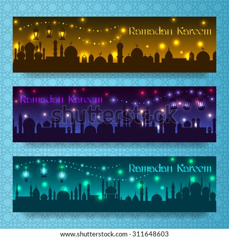 Banners for ramadan kareem and eid with night holiday arab city - stock vector