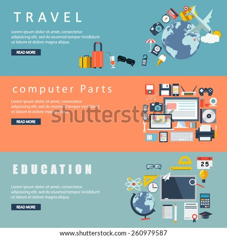 Banners for websites flar design style travel , computer parts , education  - stock vector