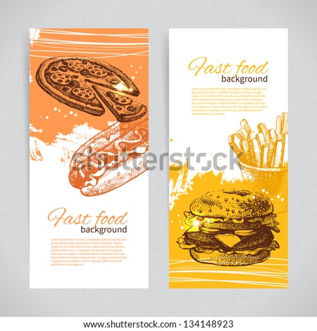 Banners of fast food design. Hand drawn illustrations. Splash blob backgrounds - stock vector