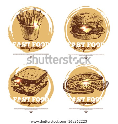 Banners of fast food sketch design. Hand drawn illustrations. Splash blob backgrounds - stock vector