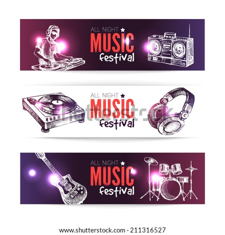 Banners of music design. Set of hand drawn sketch Dj backgrounds. Vector illustration - stock vector