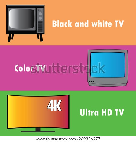 Banners or background, the evolution of television, flat vector - stock vector