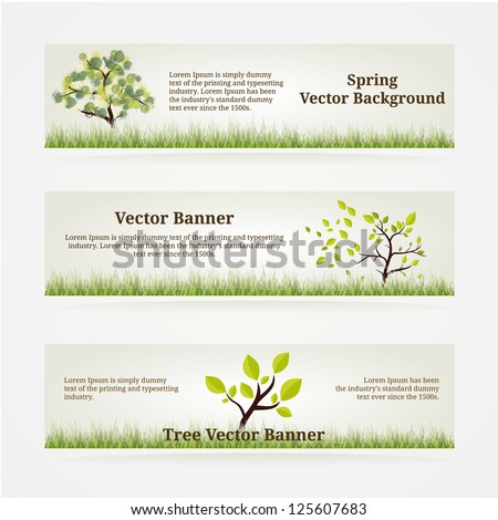 Banners Set. Eco Style with Green Tree and Grass. - stock vector