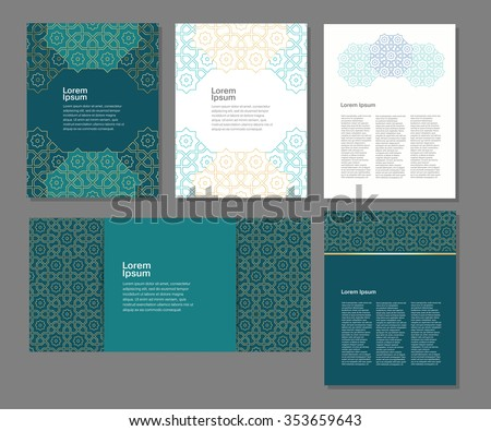 Banners set of templates with arabic ornament, vector illustration - stock vector