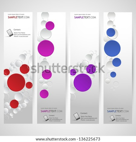 Banners set with rings, Minimalistic design - stock vector