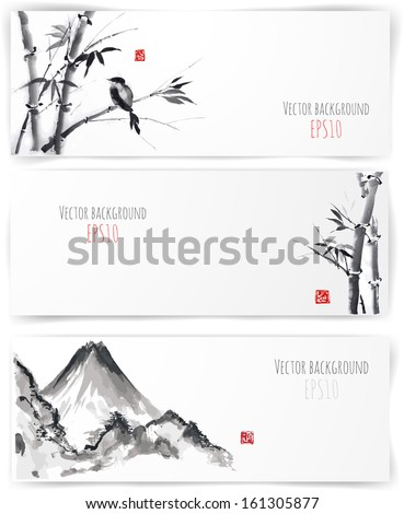 Banners with bamboo, mountains and bird in sumi-e style. Vector illustration. Traditional Japanese painting. Hand-drawn with ink.  - stock vector