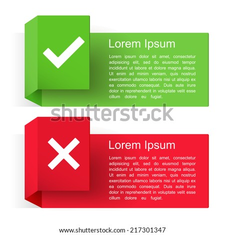 Banners with check and cross symbols, vector eps10 illustration - stock vector