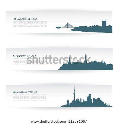 Banners with city skylines - vector illustration - stock vector