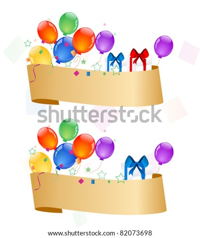 Banners with colorful balloons - stock vector