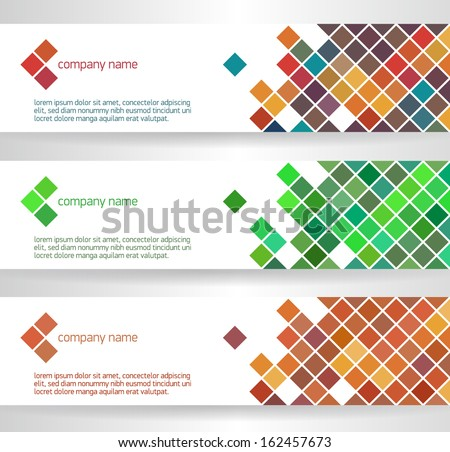 Banners with colorful square cells, vector - stock vector
