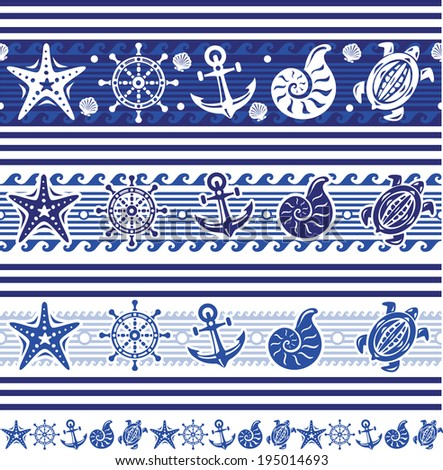 Banners with Nautical and sea symbols - stock vector