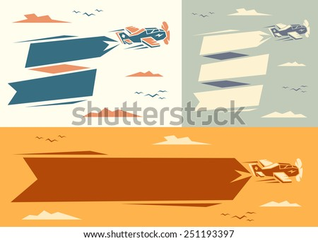 Banners with plane. Vector illustration. - stock vector