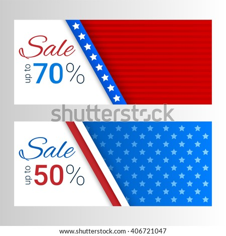 Banners with stripes and stars in colors of the American flag. Set of modern vector horizontal banners. Sale, discount theme. - stock vector
