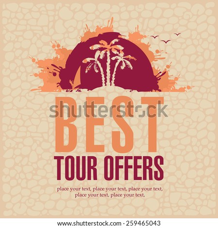 banners with the sea and the inscription Best Tours - stock vector