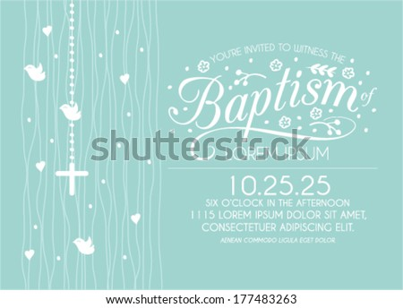 Baptism Invitation Card Design with Cross and Birds in Vector - stock vector