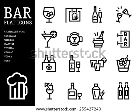 Bar, alcohol icons, Drink alcohol beverage icons set. linear style - stock vector