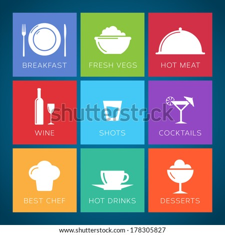 Bar and restaurant flat style vector icon set - stock vector