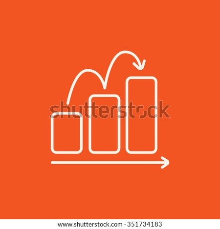 Bar chart going upward line icon for web, mobile and infographics. Vector white icon isolated on red background. - stock vector