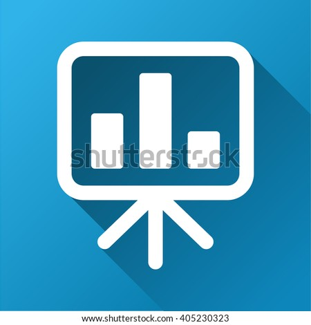 Bar Chart Presentation Board vector toolbar icon for software design. Style is a white symbol on a square blue background with gradient long shadow. - stock vector