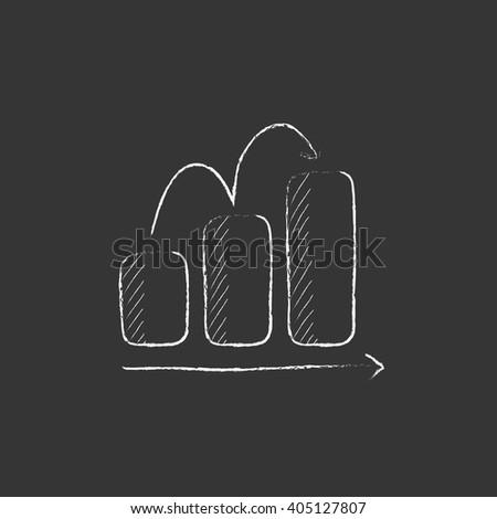 Bar chart upward. Drawn in chalk icon. - stock vector