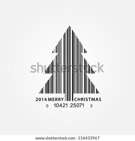 Bar code Christmas tree. Vector EPS 10 illustration. - stock vector