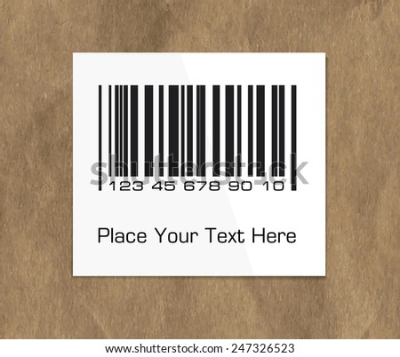 Bar code label on a dark packing paper  - stock vector